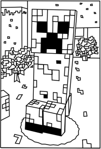 minecraft creeper colouring page