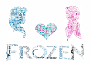 free elsa and anna Frozen word art print